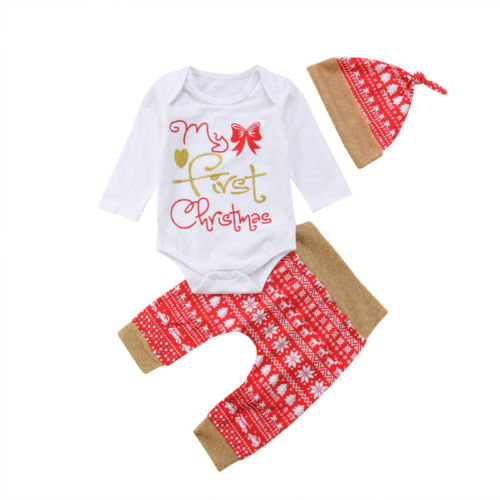 102305c6d Brand New 3Pcs Christmas Newborn Baby Boys Girls Outfits My First Christmas  Top Romper+Snow Print Pants+Hat Xmas Outfits Clothes