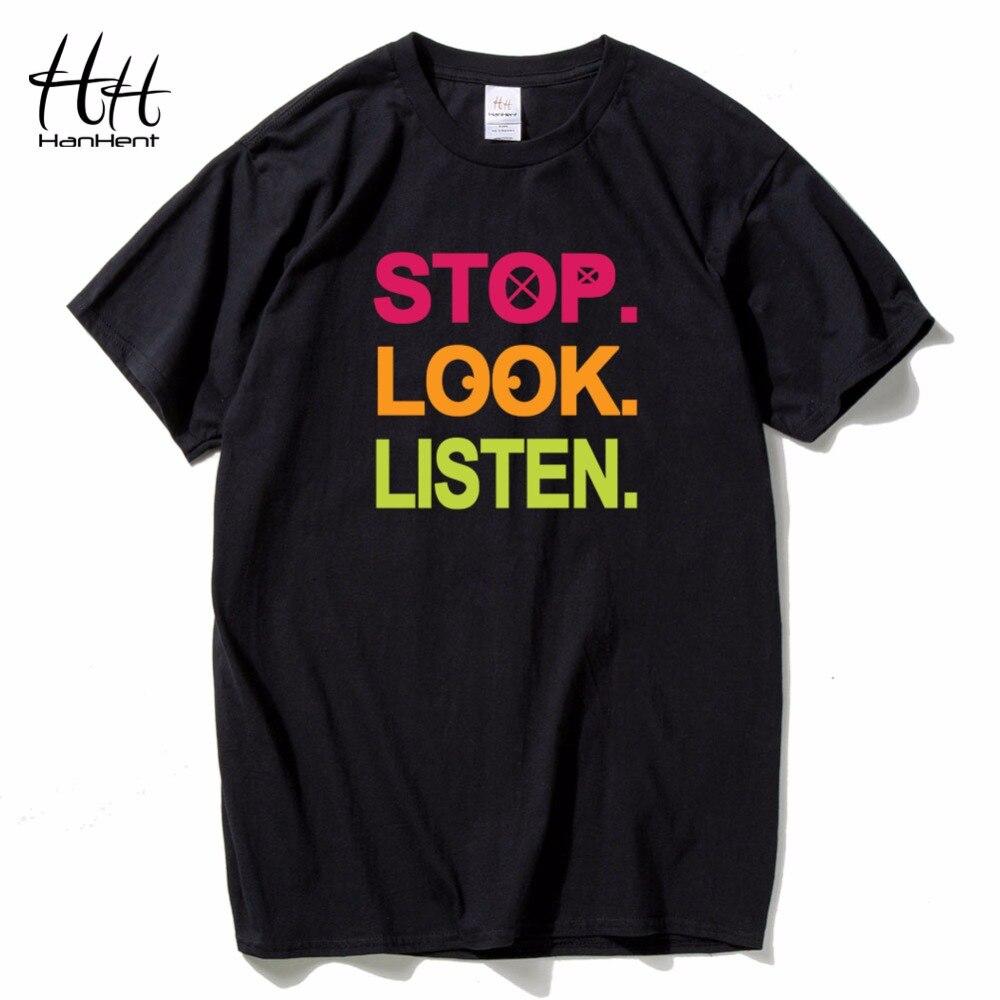 HanHent S'arrêter Regarder en Écouter Personnalité Lettre T shirt Hommes de Court manches Cotoon Lâche O-cou Tops T-shirts Drôle Hommes T shirt garçons