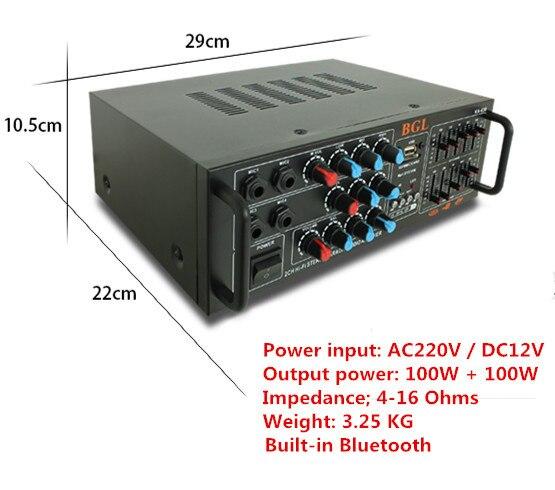 AC220V / DC12V 100W+100W KA-630 Professional digital ECHO Built-in Bluetooth Home karaoke amplifier with EQ equalization 220v 240v 200w 200w sunbuck av mp326c professional digital echo mixer amplifier home karaoke amplifier with eq equalization