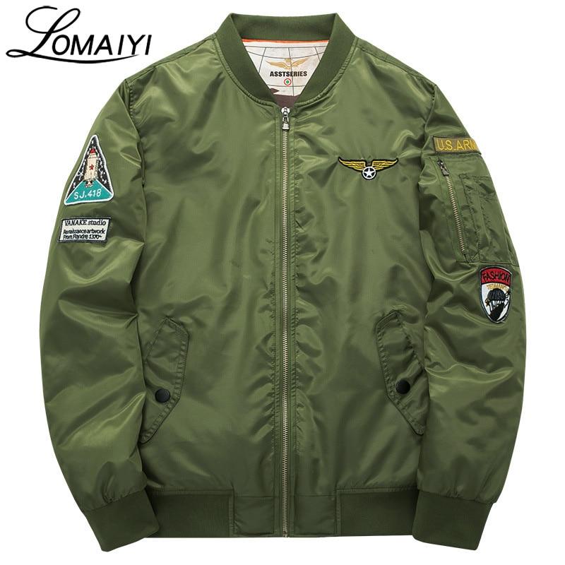 LOMAIYI 6XL Xhaketë bombe për burra femra për burra 2017 Forcë ajrore burra 2017 Pranvera ushtarake për burra xhaketë pilot betoni, BM003