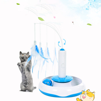 Pet Cat Electric Toys Automatic Ball Funny Feather Teaser Interactive Toy Rotating Designed For Small Medium Large Cat Products