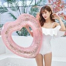 YUYU 90cm Inflatable Heart Swimming ring shining Love Ring Float heart Pool Tube Kid Summer swim pool Toy