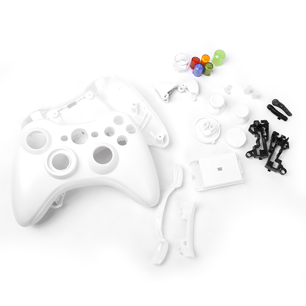 Full Housing Shell Case Kit Replacement Parts for Xbox 360 Wireless Controller White