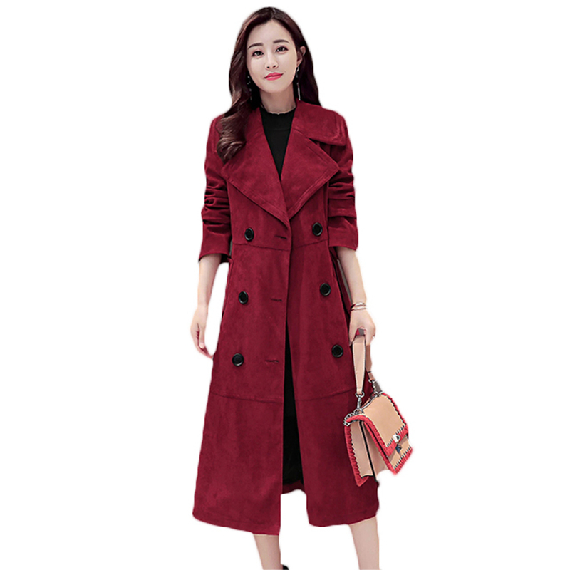 Long Double Breasted Trench Coats Women Korean Fashion 2018 Spring Autumn Plus Size Slim Deerskin Suede Coat Female Z12