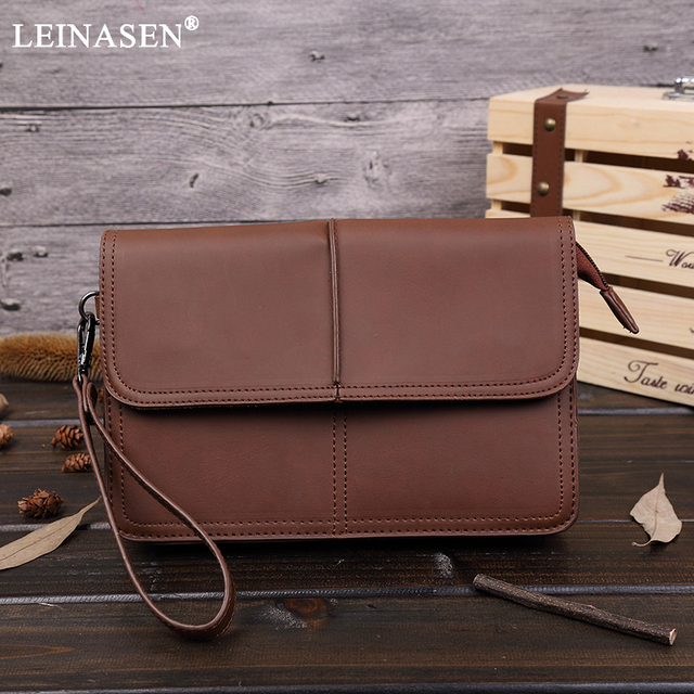 4560f5c085b Fashion Vintage PU Leather Handy Bags leisure Male Purse Zipper Men s  Clutch Casual Business Day Clutches High quality hand bag