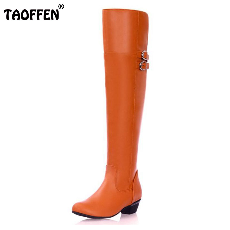 TAOFFEN Size 30-47 Women Flat Over Knee Boots Ladies Riding Fashion Long Snow Boot Warm Winter Brand Botas Footwear Shoes P9982 free shipping over knee wedge boots women snow fashion winter warm footwear shoes boot p15323 eur size 34 39