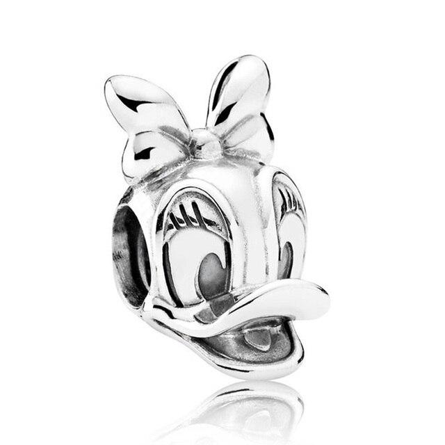 Authentic 925 Sterling Silver Beads Fit Originale Pandora Bracciali e Braccialetti di Fascini di Mickey Minnie Mouse Del Fumetto Trasparente di Cristallo DELLA CZ