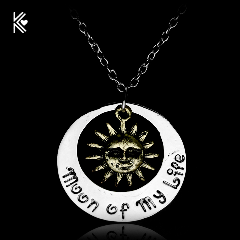 Vintage Game Of Thrones Collares Star And Moon Of My Life Letter Multilayer Necklace Women And Men Sun Chain Pendant Necklace