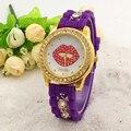 Mujeres de los relojes de moda reloj 2016 reloj de cuarzo relogio feminino mujeres relojes reloj mujer reloj femenina patrón de labios