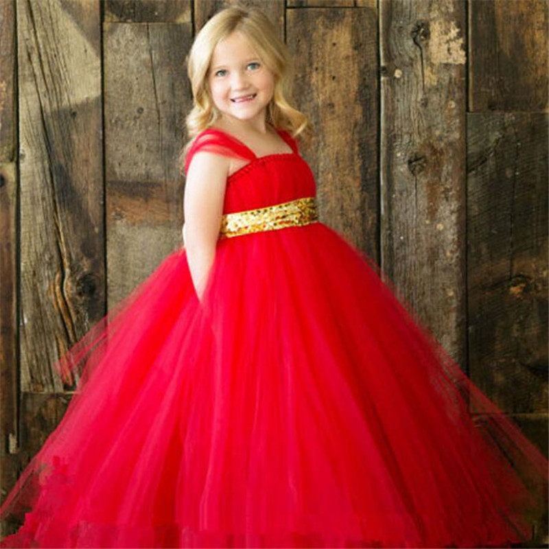 ФОТО New red golden sash tutu baby bridesmaid flower girl wedding dress tulle fluffy ball gown birthday evening prom cloth party kids