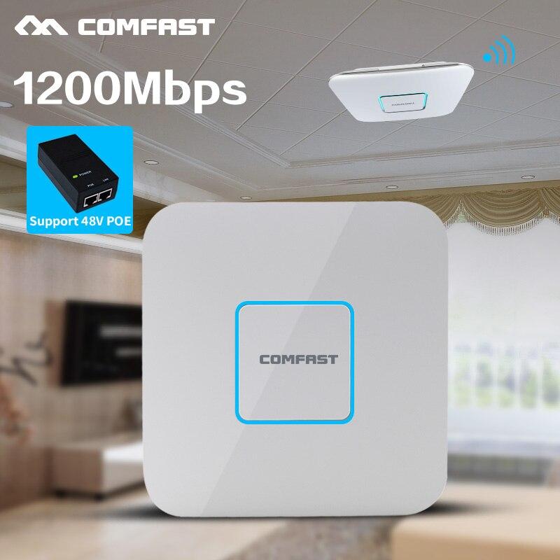 1200 Mbps 2.4G/5.8G Dual Band 802.11AC Intérieur Montage Au Plafond Point D'accès répéteur wi-fi Routeur 48 V POE AP 500 MW Gestion Gigabit