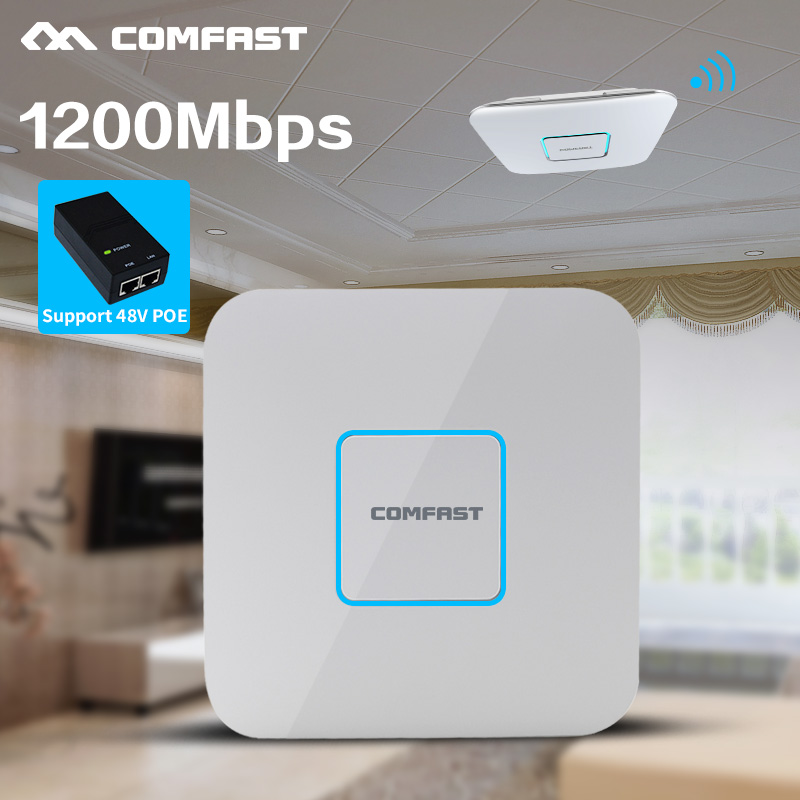 1200Mbps 2.4G/5.8G Dual Band 802.11AC Indoor Ceiling Mount Access Point Wifi Repeater Router 48V POE AP 500MW Gigabit Management mt7621 gigabit 2 4g 5g routers 512mb ram usb access point wifi 1200mbps 1 wan 4 lan ports free shipping
