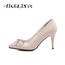 AIKELINYU 2019 Summer Fashion Bowknot Pumps Sexy Thin Heels Pointed Toe Party Black Shoes Elegant Genuine Leather Woman