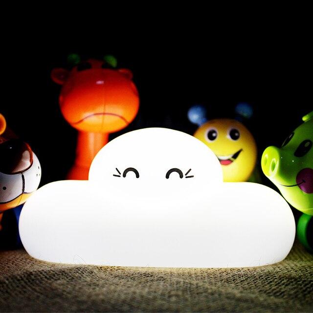 Indah Lucu Awan Senyum Wajah Touch Sensor LED Night Light USB Rechargeable Lampu Bagus Hadiah untuk Anak Nursery Bedroom