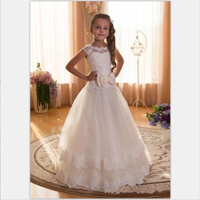 Cute Cap Sleeve Lace Floor Length Flower Dresses Tiered First Communion Gowns Little Kids Wedding