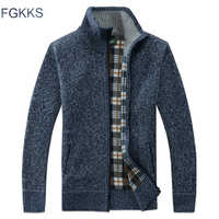 FGKKS Men's Casual Sweater Coats Winter Fashion Brand Mens Cardigan High Collar Pockets Knit Outwear Coat Sweater Male