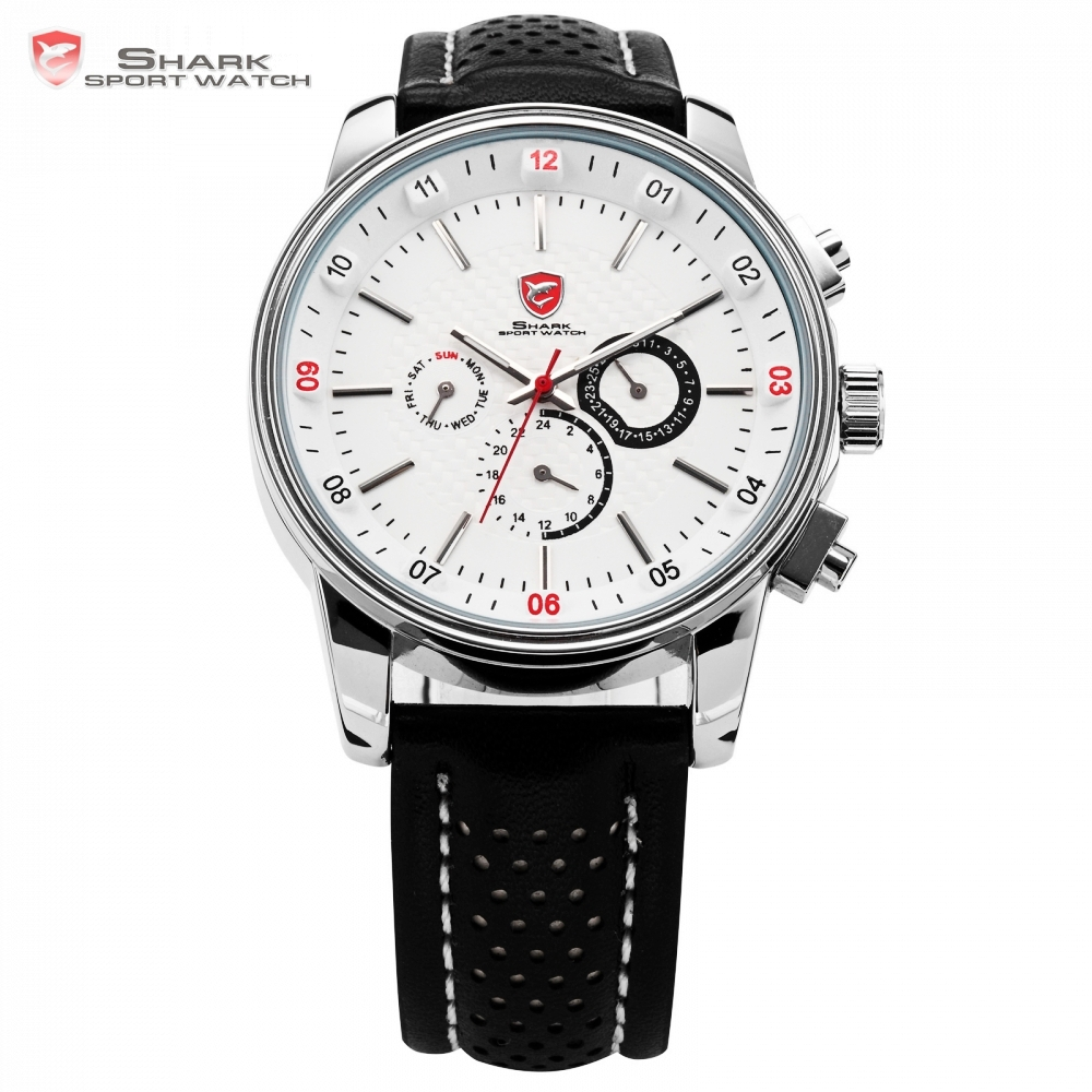 цена на Pacific Angel Shark Sport Watch Men's White Date Day Fashion Casual Men Wristwatch Black Leather Strap Quartz Clock Male / SH093