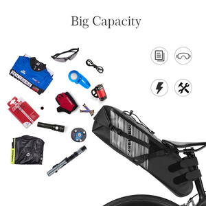 Image 4 - ROCKBROS 자전거 가방 방수 반사 10L 대용량 안장 가방 사이클링 Foldable 꼬리 후면 가방 MTB 도로 트렁크 자전거 가방