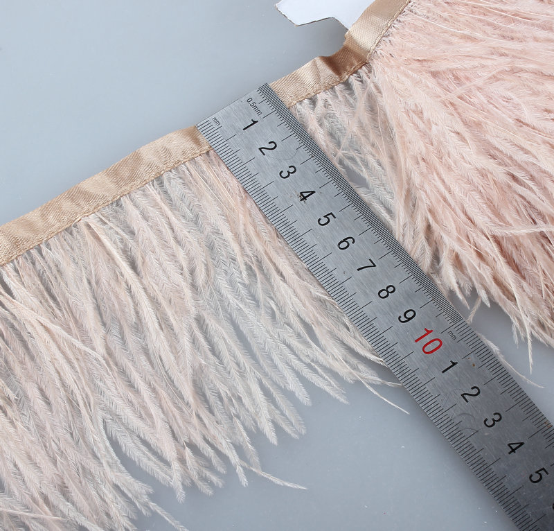 Wholesale high quality5- 10 meters ostrich feather ribbon, feather length 8-11cm / DIY clothing accessories