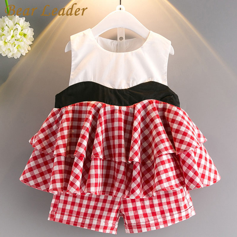 Bear Leader Girls Clothing Sets 2018 Summer Style Girls Clothes Sleeveless Plaid T-shirt+Plaid Shorts 2Pcs for Kids Clothing Set 2017 summer girls clothing sets 2 colors chiffon plaid sleeveless shirt shorts suits baby girls princesas kids clothes 3 7t