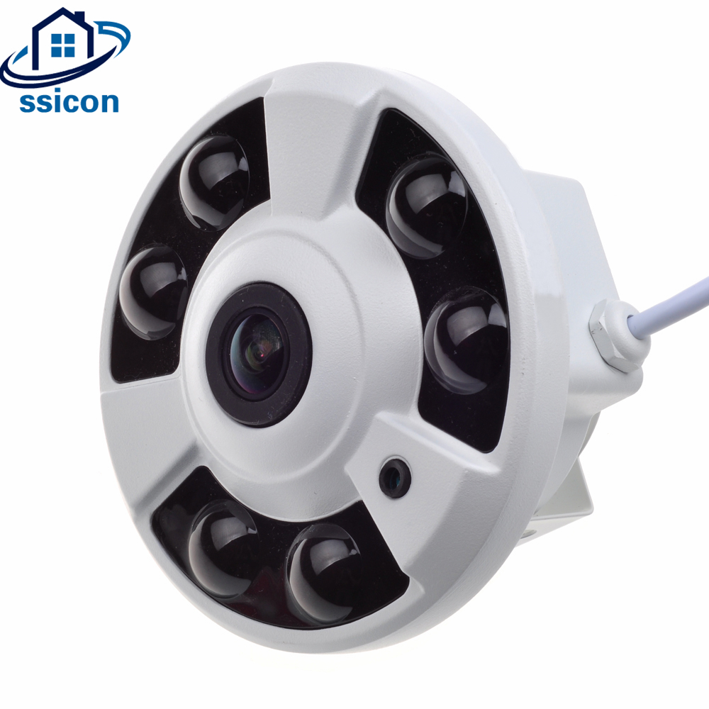 SSICON H.265 4.0MP Panoramic 360 Camera IP Fisheye IR Distance 40M 1.56mm Lens 6Pcs Leds Wide Angle View CCTV Dome IP Camera