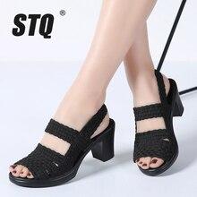 STQ 2020 קיץ נשים העקב סנדלי נעלי נשים טריזי פלטפורמת Sandalias קיץ נעליים עקב פתוח סנדלי עקבים גבוהים משאבות 801