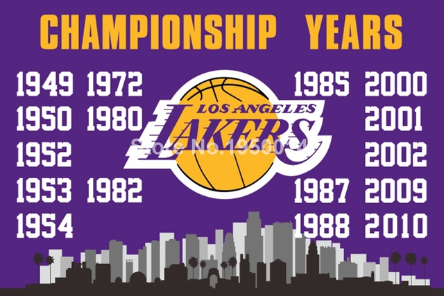 c974b3e5253 Los Angeles Lakers Championship Years Flag 3ft x 5ft Polyester NBA Team  Banner Flying Size No