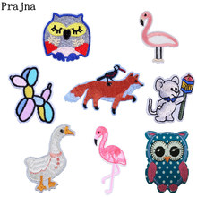 Prajna Embroidery Fox Swan Clothes Patch Handwork Exquisite Animal Iron On Patches Stickers For Kids Dress Accessories E(China)