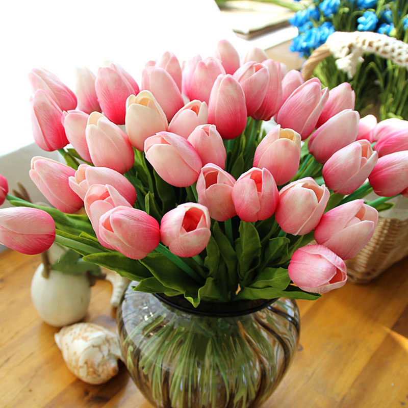 11pcs/lot PU Fake Artificial Flower Bouquet Real Touch Tulip Flowers For Party Wedding Home Decoration Flower