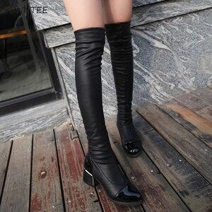 Image 4 - أحذية النساء ضئيلة أنيقة طويل فوق الركبة PU أحذية عالية الساق من الجلد الأزياء الدافئة زائد المخملية الفخذ عالية أحذية 2019 إمرأة عارضة للماء