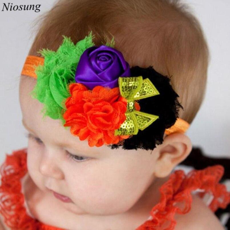 Niosung Baby Girl Newborn Toddler Halloween Flower Bowknot Elastic Headband Headwear Elastic Hair Band funny hair accessories