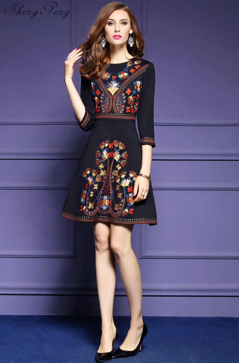 95e195953d0 2018 new mexican embroidered dress woman black mexican dress boho chic  dresses ladies tunic boho style dresses CC175-in Dresses from Women s  Clothing on ...