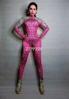 Rose Silver Rhinestones Jumpsuit Birthday Celebrate Bodysuit Leggings Dance Outfit Nightclub Female Singer Outfit Party Wear