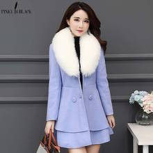 PinkyIsblack Autumn Winter Long Wool Coat Women Ruffles Blend and Jacket Removable Fur Collar Outwear