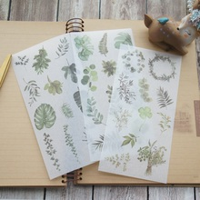 3 sheets summer leaves washi Paper sticker as Scrapbooking DIY gift packing Label Decoration Tag party