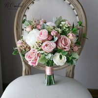 PEORCHID Vintage Wedding Bridal Bouquet Artificial Ramo Novia Boda Decoration De Mariage Blush Pink Rose Flowers Brides Bouquet