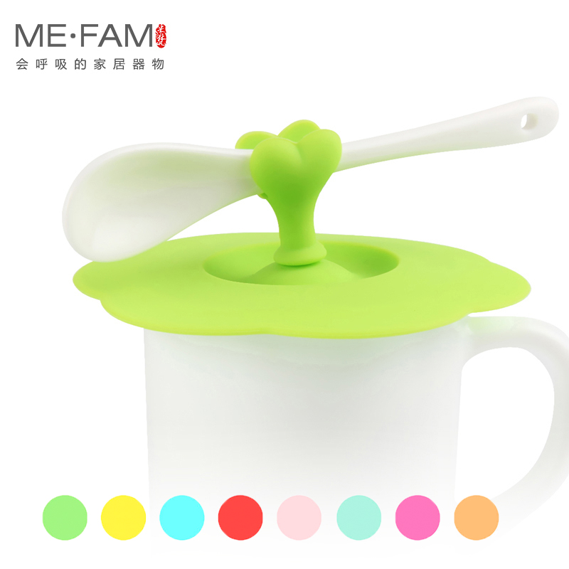 ME.FAM 1 Pieces Cute Heart-shaped Can Clip Spoon Cup Lid 10.5 Cm Silicone Seal Dust-proof Cover For Glass Ceramic Plastic Mug