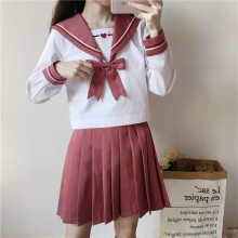 UPHYD New Arrival School Uniform Anime Costumes Female Sailor Suits Pink Peach Heart Embroidery Japanese School Girl Uniforms