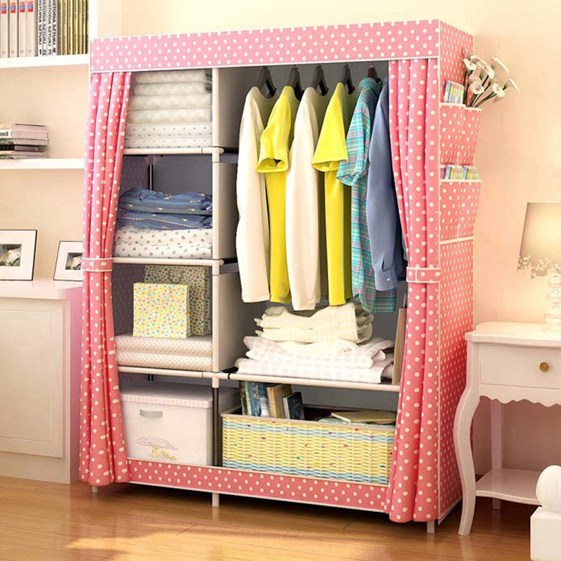 Simple Wardrobe Non-woven Steel pipe frame reinforcement Standing Storage Organizer Detachable Clothing Closet Bedroom furniture simple fashion moistureproof sealing thick oxford fabric cloth wardrobe rustproof steel pipe closet 133d