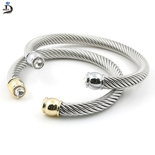 MSX 2017 Hot Sale Elastic Charms Wire Stainless Steel Punk Twist Cuff Bracelets & Bangle For Women Accessories  Luxury Jewelry