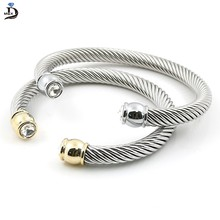 MSX 2017 Hot Sale Elastic Charms Wire Stainless Steel Punk Twist Cuff Bracelets & Bangle For Women Accessories Luxury Jewelry(China)