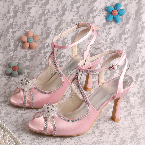 (20 Colors)Custom Made Super Quality Pearls with Rhinestones Wedding Shoes Pink Satin Roman Sandals