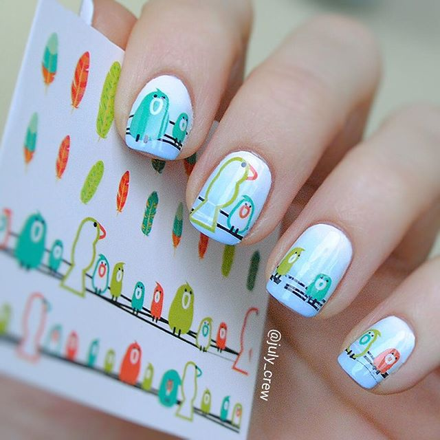 купить 2 Patterns/Sheet Birds Feather Nail Art Water Decals Transfer Sticker BORN PRETTY BP-W01 дешево