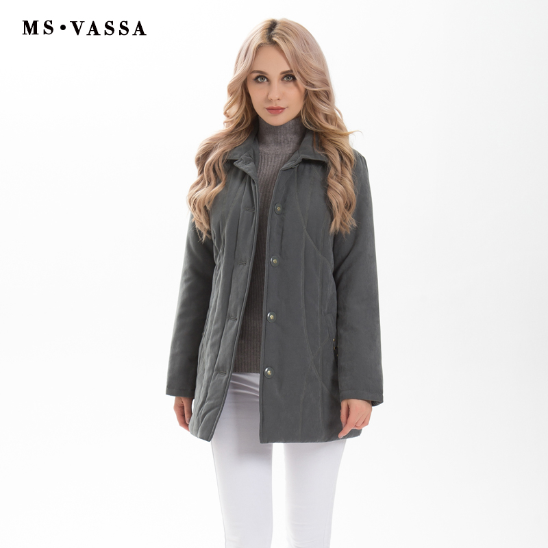 MS VASSA High Quality Women   Parkas   Low Price Clearance Sale Autumn Winter Classic Ladies Jacket Micro Moss Padding Coat