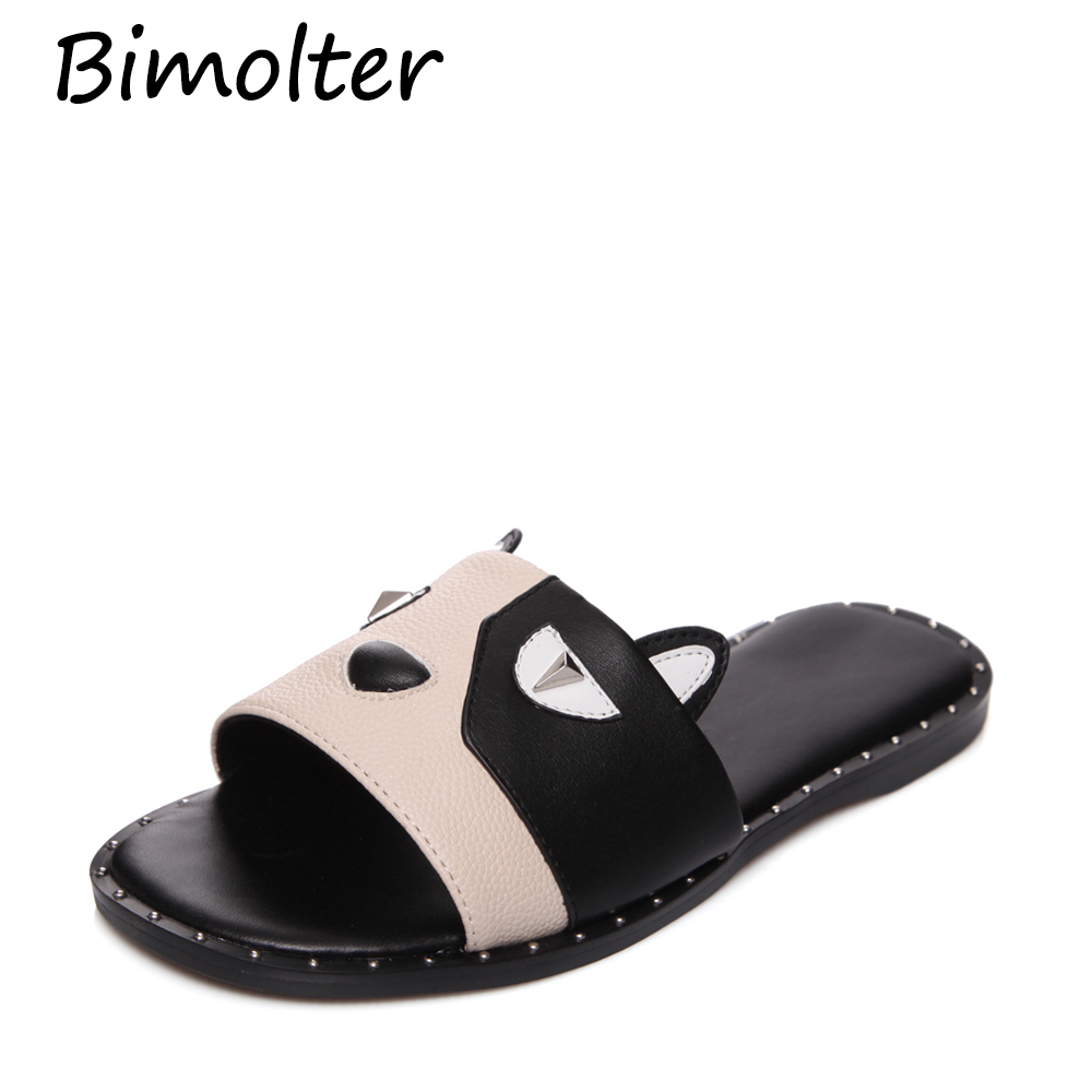 Bimolter 2019 new arrival Brand genuine leather shoes woman round toe summer comfortable Casual Cat NC061