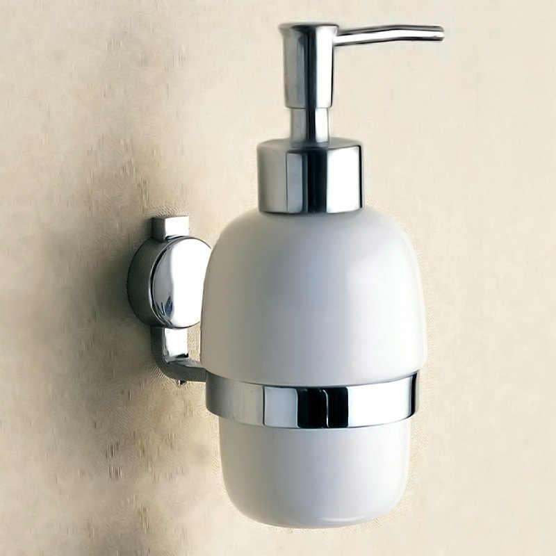 Mydło w płynie w płynie dozownik montowany na ścianie mosiądz detergentów szampon prysznic pranie ręczne butelka ceramiczna uchwyt pompy Chrome łazienka akcesoria