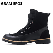 GRAM EPOS Для мужчин повседневные ботинки модные осень-зима теплые хлопковые Брендовые ботильоны высокий верх открытый Повседневное Мужская обувь Botas Homme