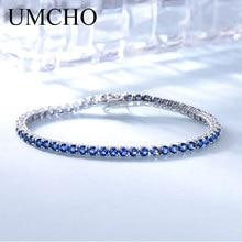 UMCHO Luxus Created Nano Blue Sapphire Karkötő Real 925 Sterling Ezüst Karkötők és Bangles Romantikus Nők Ajándékok