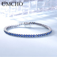 UMCHO Luxury Created Nano Blue Sapphire Bracelet Solid Real 925 Sterling Silver Bracelets & Bangles Romantic For Women Gifts