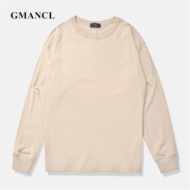 6f665e5cb New KANYE WEST Style Men Solid color Casual Long sleeve T Shirts Autumn  Loose Hip hop Streetwear Casual Oversized O-neck T Shirt